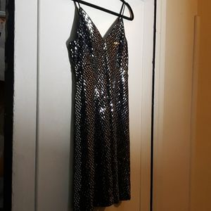 Black with silver sparkle mini dress